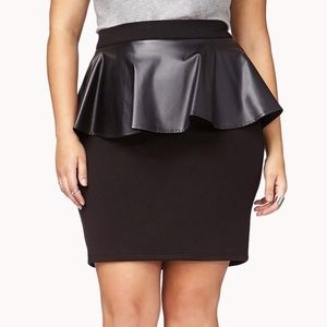 Plus size Black skirt with Faux leather peplum